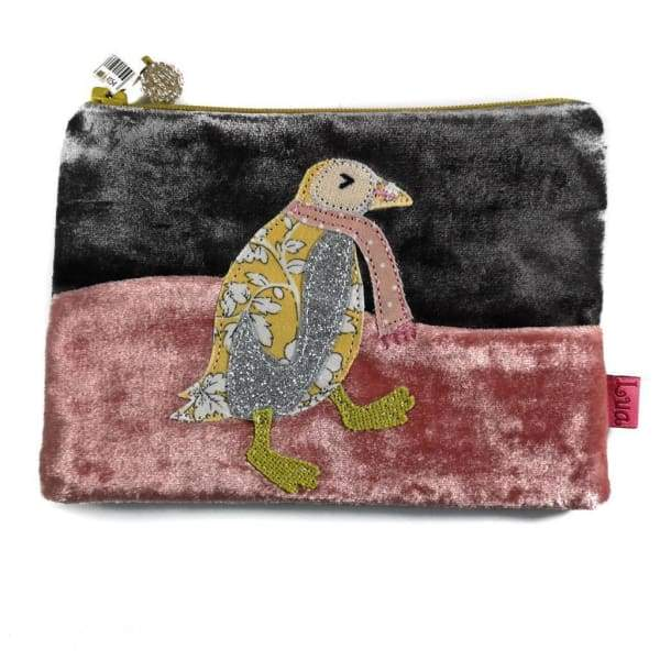 Applique dancing penguin velvet handmade coin purse designed by Lua - dark grey - women