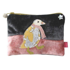 Applique dancing penguin velvet handmade coin purse designed by Lua - women