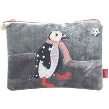 Applique dancing penguin velvet handmade coin purse designed by Lua - light grey - women