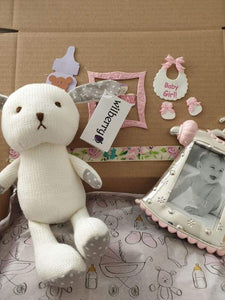 Baby Girl gift box with rabbit toy and pretty frame - Cordelia's House of Treasures