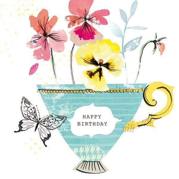 Beautiful pansy birthday card - stationery