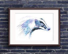 Beautiful Print ideas for him created by a British Artist - badger - gift for him