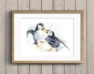 Beautiful Print ideas for him created by a British Artist - puffin - gift for him