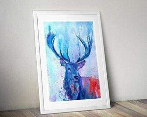 Beautiful Print ideas for him created by a British Artist - stag blue - gift for him