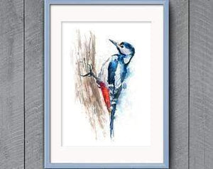 Beautiful Print ideas for him created by a British Artist - woodpecker - gift for him