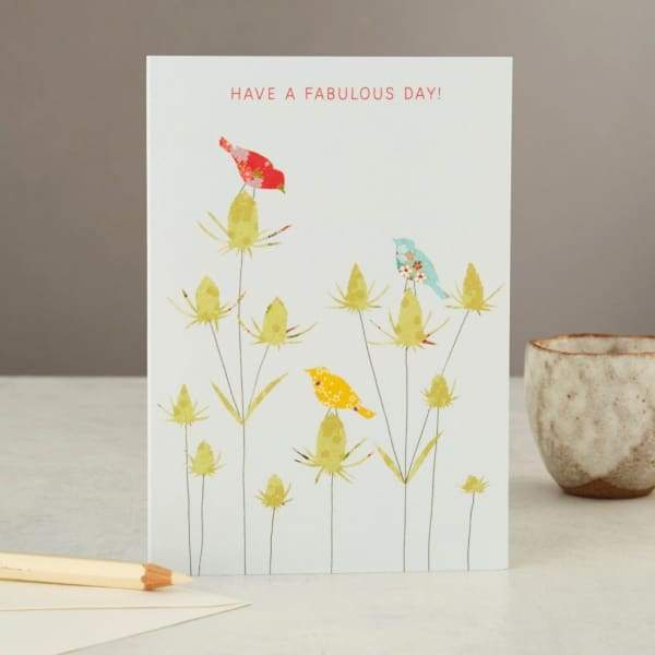 Birds and teasel Birthday/greeting card - stationery
