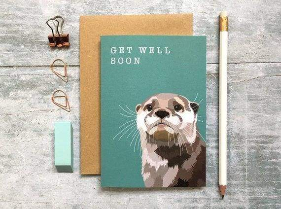 British Otter 'get well soon' Card from Cordelia's greeting card shops section. - Cordelia's House of Treasures