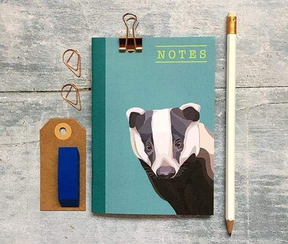 British wildlife badger A6 notebook from Cordelia's greeting card shops section - Cordelia's House of Treasures