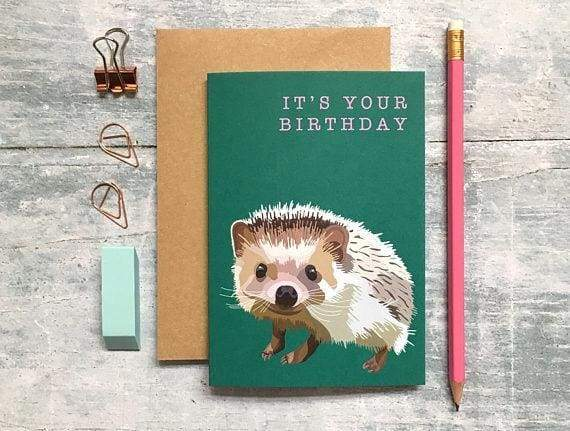 British wildlife birthday Card of a hedgehog from Cordelia's greeting card shops section. - Cordelia's House of Treasures
