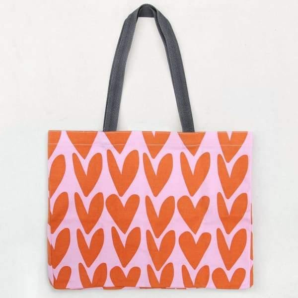 Caroline Gardner orange heart tote bag , large - Cordelia's House of Treasures