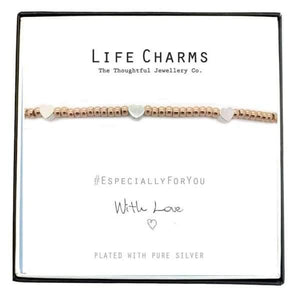 Charm Rose Gold with Silver Hearts Bracelet - Cordelia's House of Treasures