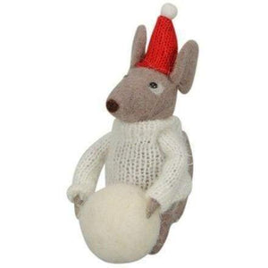 Christmas felt mouse with big snowball - Cordelia's House of Treasures