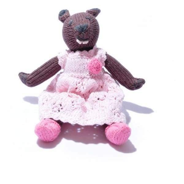 Chunki Chilli - Organic Cotton Beaver Soft Toy in Changeable Pink Dress - child