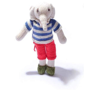 Chunki Chilli - Organic Cotton Elephant Soft Toy in Changeable French Outfit - Cordelia's House of Treasures