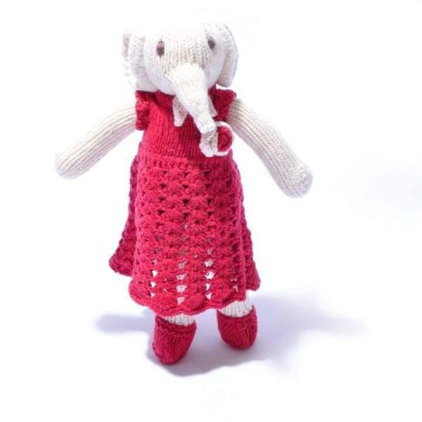 Chunki Chilli - Organic Cotton Elephant Soft Toy in Changeable Red Crochet Dress - toy