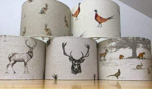 Drum lampshade with varied animals including Pheasant Hare Stag etc - Artisan