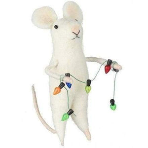 Felt mouse decorating his Christmas tree - Cordelia's House of Treasures