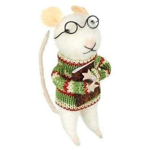 Felt mouse in Christmas sweater - Christmas Decorations