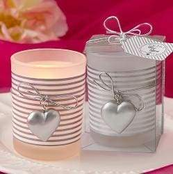 Glass Silver Heart Design Votive Candle Holder With A White And Silver Striped Design - wedding