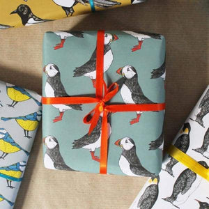 Green Puffin Gift Wrap - Cordelia's House of Treasures