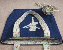 handmade child's denim tote bag with applique unicorn, butterfly, ballerina with headband - Cordelia's House of Treasures