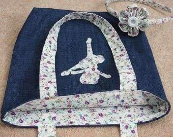 handmade childs denim tote bag with applique unicorn butterfly ballerina with headband - ballerina white - Childrens accessories