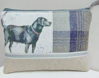 Handmade Dog Makeup Bag Labrador Makeup Bag Country Tweed and Puppy Dogs Cosmetics Case or Zip Pouch - Blue - Artisan