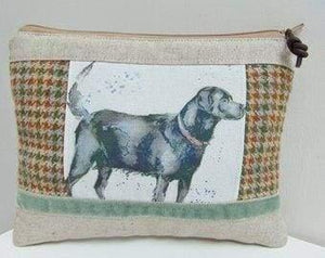 Handmade Dog Makeup Bag Labrador Makeup Bag Country Tweed and Puppy Dogs Cosmetics Case or Zip Pouch - green - Artisan