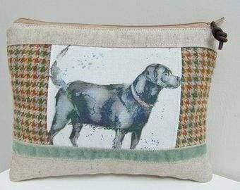 a318f2ab0235 Handmade Dog Makeup Bag, Labrador Makeup Bag, Country Tweed and Puppy Dogs  Cosmetics Case or Zip Pouch