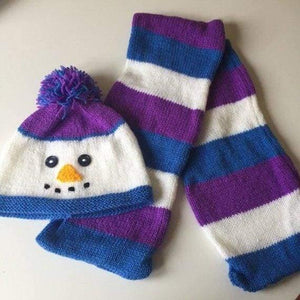 Handmade knitted hat and scarf. Snowman - Childrens accessories