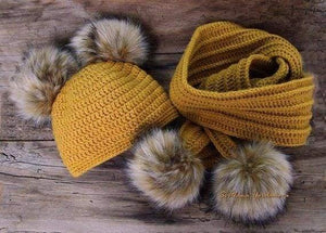 Handmade knitted hat scarf and booties with faux fur - Childrens accessories