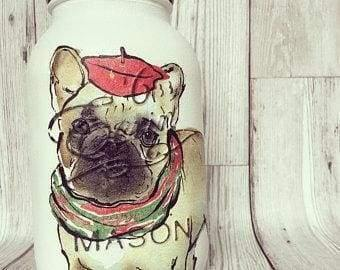 Handpainted Mason Jar with French Pug design - Cordelia's House of Treasures
