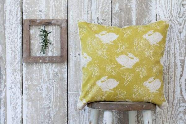 Headlined hare ochre cushion, Sam wilson design - Cordelia's House of Treasures