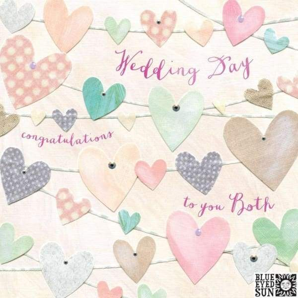 Heart bunting wedding card - wedding