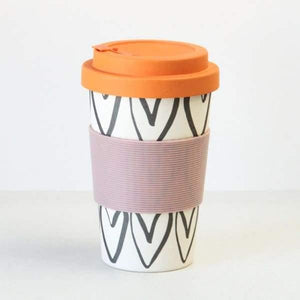 Hearts Outline Bamboo Reusable Coffee Cup - Cordelia's House of Treasures