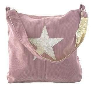 Large Lua Corduroy Dusty Pink handbag with star embellisment - Cordelia's House of Treasures