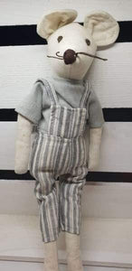 Linen Mouse in Dungarees Wilberry toys - Easter soft toy children group one