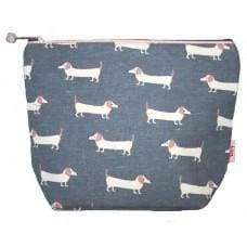 Lua cosmetic bag with velvet or foil effect band. Polar bear or Dachshund - Cordelia's House of Treasures