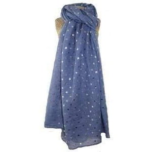 Lua Denim Blue Foil star Scarf - women