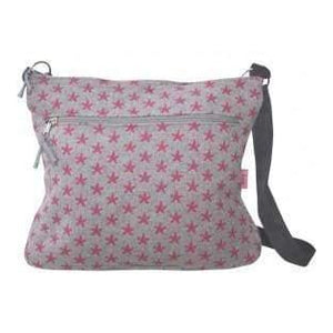 Lua Large Messenger Wool stars Grey and pink bag - Cordelia's House of Treasures