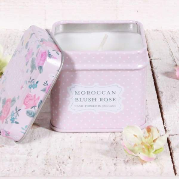 Moroccan Blush Rose Petite Tin Candle - home