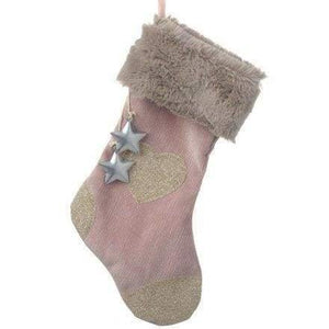 Pink corduroy Christmas stocking with metal charms hanging - Christmas Decorations
