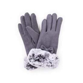 powder faux suede and fur gloves - women