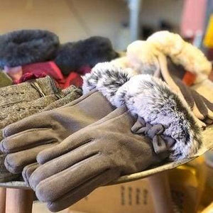 powder faux suede and fur gloves - Cordelia's House of Treasures