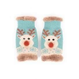 Powder reindeer wrist warmers, Novelty faux fur lined - Cordelia's House of Treasures