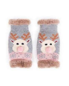 Powder reindeer wrist warmers Novelty faux fur lined - women