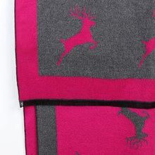 BRIGHT PINK/GREY REVERSIBLE STAG PATTERN SOFT JACQUARD SCARF