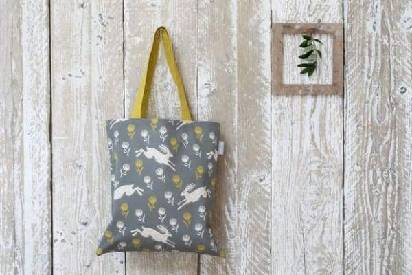 Sam wilson,  Running Hare Pattern Grey/Yellow Canvas Bag - Cordelia's House of Treasures