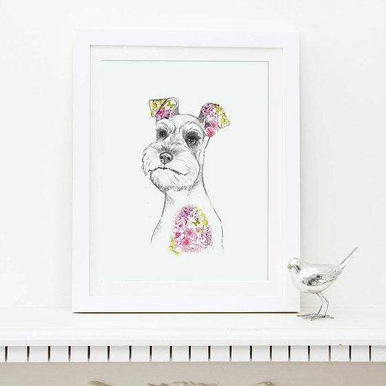 Schnauzer dog print - painting from Cordelias gift shop - home
