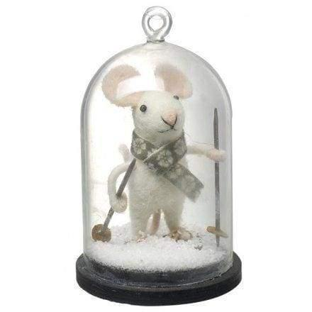 Skiing felt mouse in a little cloche jar - Christmas Decorations